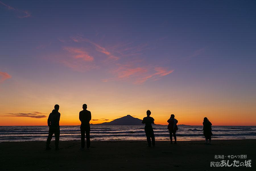 利尻島と夕焼け
