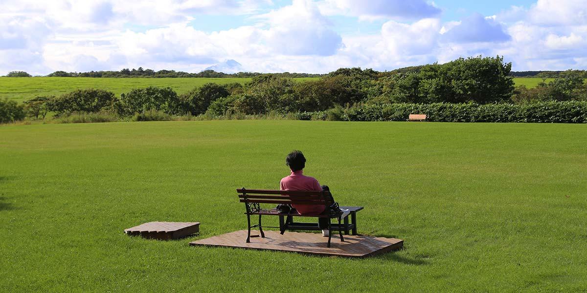 利尻富士も見える民宿の庭