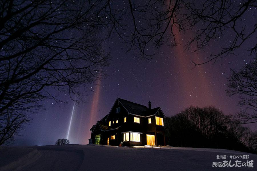2017年1月23日のライトピラー現象と星空