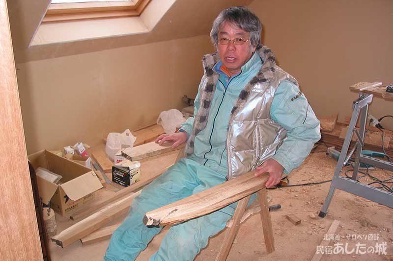 04雪が溶けるまで一休み(椅子作り) | 廃材で作る物置小屋