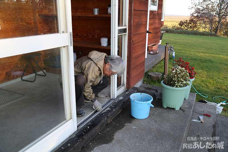 風除室のセメント部分を補修