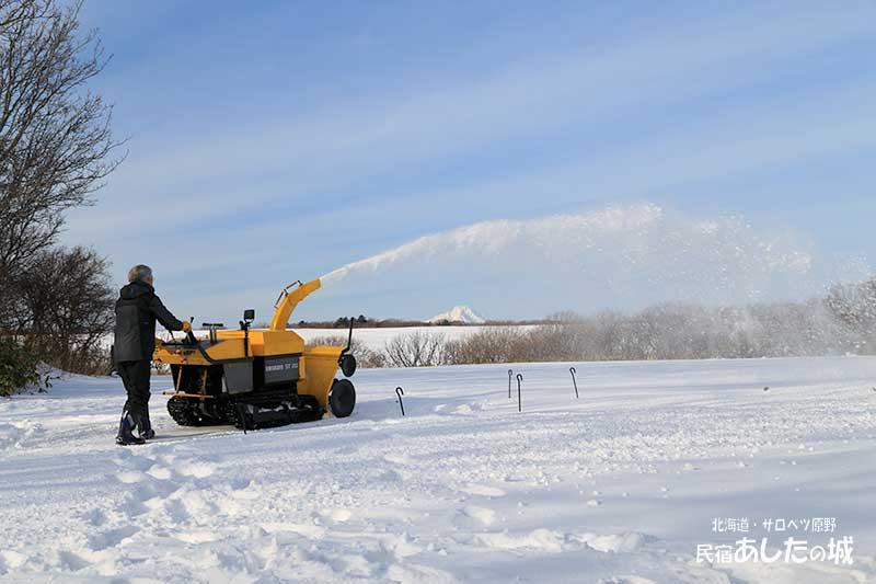 除雪作業と利尻