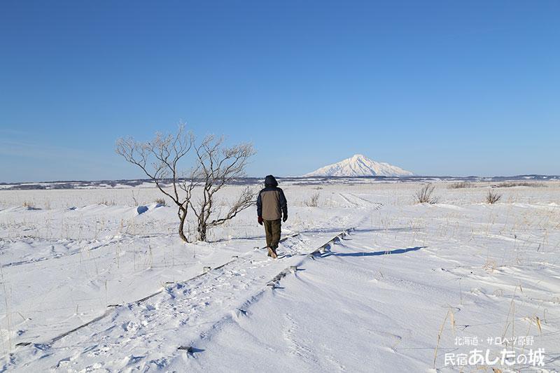 冬のサロベツ湿原センター遊歩道と利尻