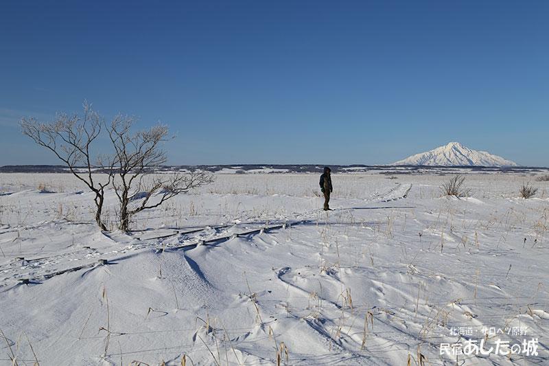 冬のサロベツ湿原センター遊歩道と利尻(2)