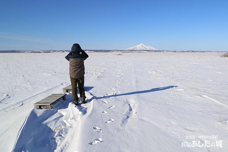 途中で遊歩道は雪に埋もれる