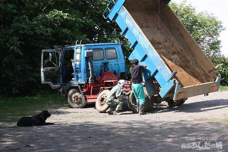 トラックのパンク修理