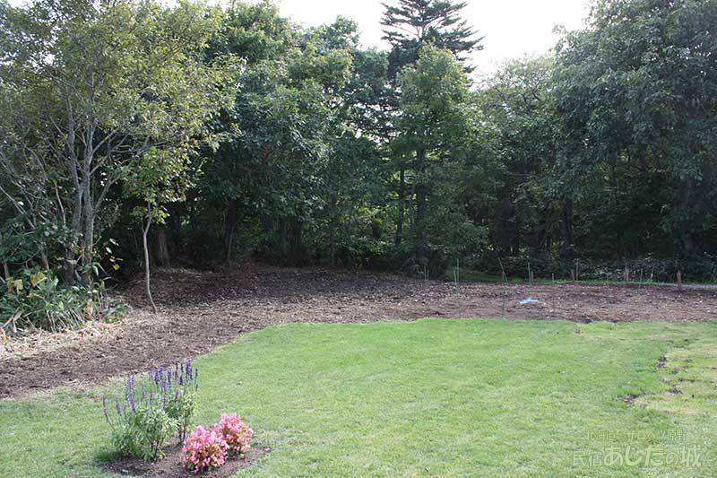 芝生の種をまくばかりになったところ