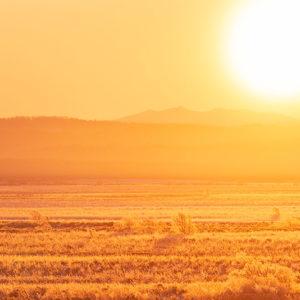 サロベツ原野と日の出