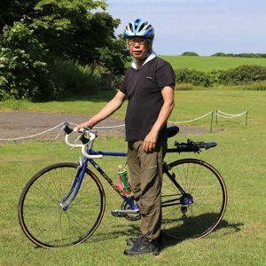 さっそく自転車に装備をつけて