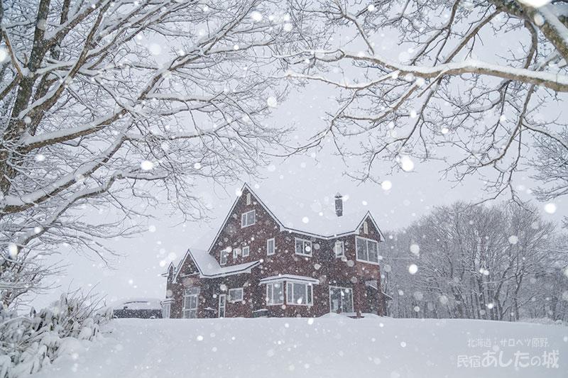 風もなく雪が降る