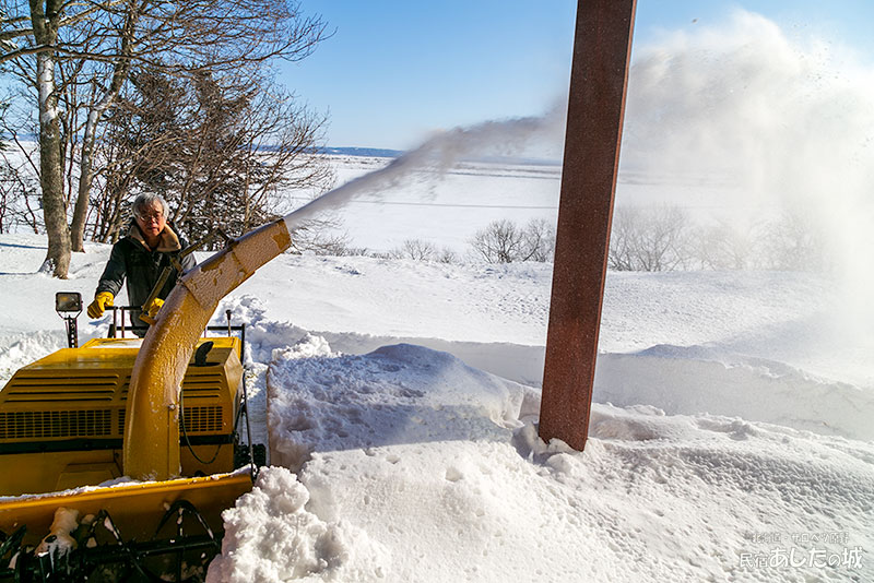 薪運びルートを除雪