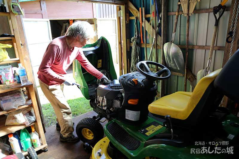乗用芝刈り機の部品が届いて修理する